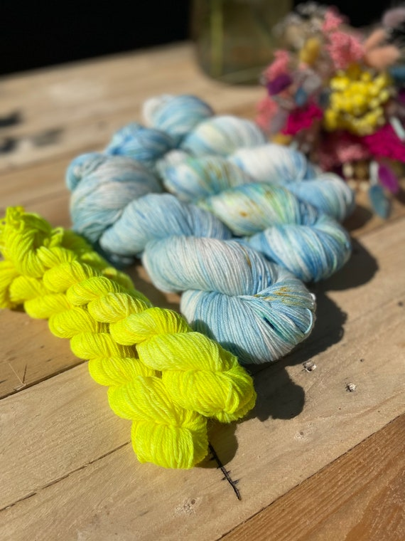 Adrift Hand Dyed Sock Yarn Set - free knitted sock pattern included!