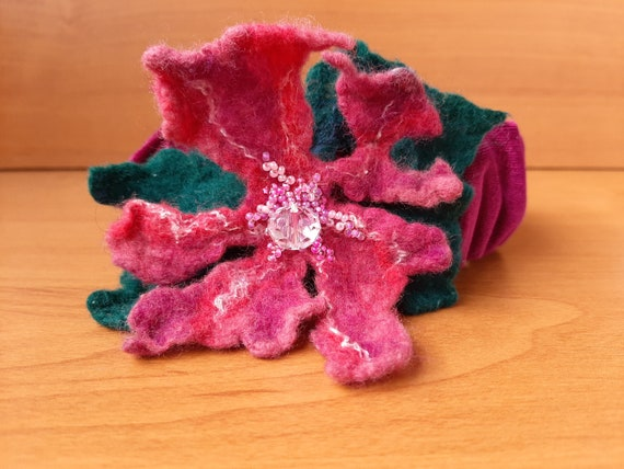 Velvet with Orange Flower HeadbandMerino Wool FeltCzech BeadsEmerald HairbandCzech Glass Crystal BeadsBeaded Felt FlowerGift