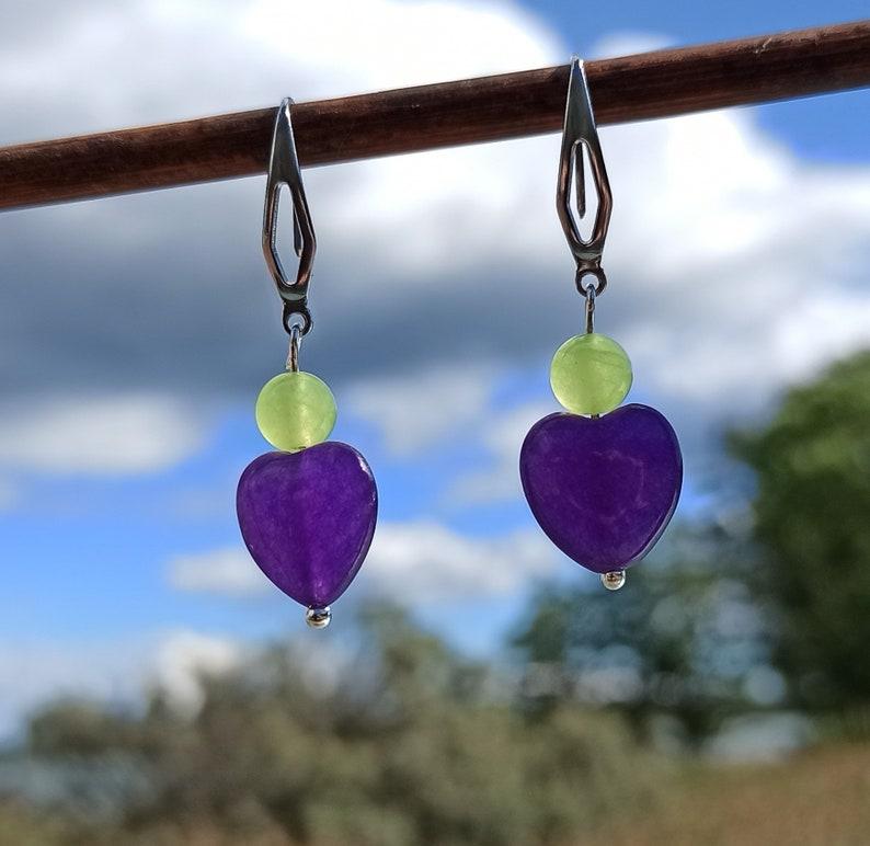 Long amethyst and peridot earrings Gemstone heart earrings for mom