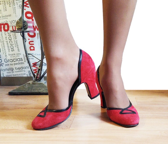 John Fluevog Miracles Cana Red Suede Heels US 6 w
