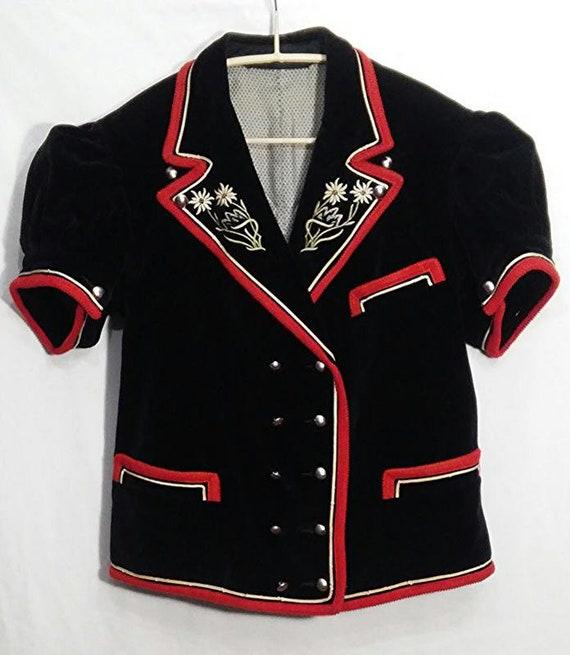 Vtg velour jacket, Vintage Jacket blazer black red