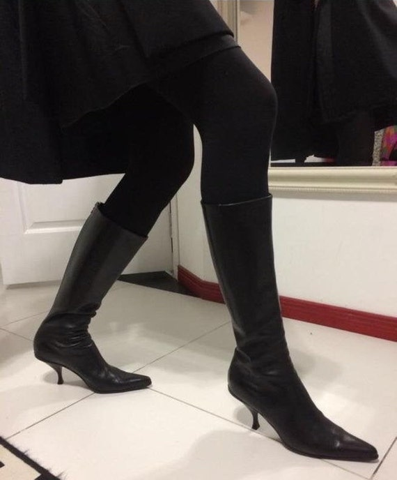Vintage Prada knee boots, Prada women's boots blac