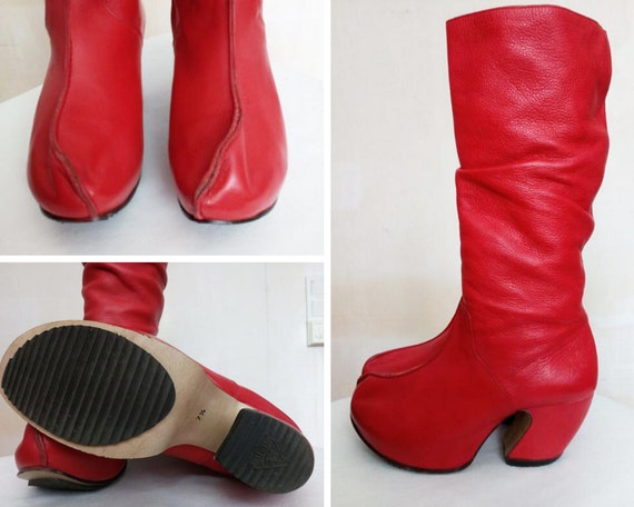 John Fluevog red boots, John Fluevog women's boots