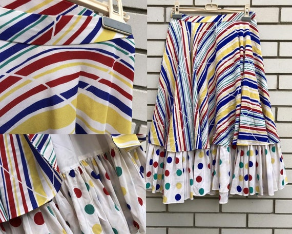 Silk vintage semi circle polka dot midi skirt, ret