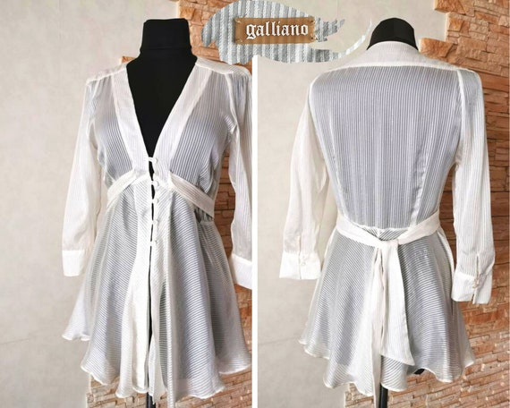 John Galliano Designer Silk Blouse Size M authenti