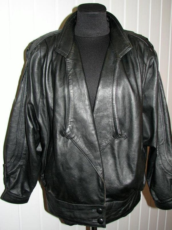 Women's 80s leather jacket, Black Genuine Leather