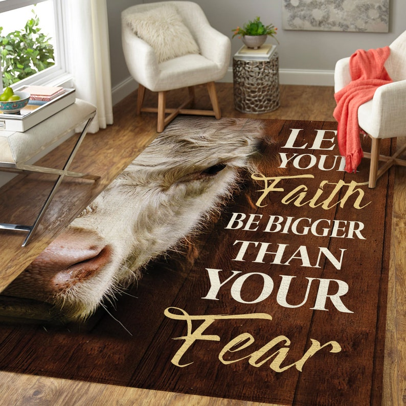 Let Your Faith Be Bigger Than Your Fear Rugs Anti-Skid Area Rug Living Room Bedroom Floor Mat Carpet