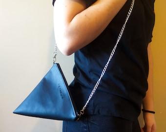 Vegan leather bag, Triangular clutch bag, Geometric style crossbody handbag,leather clutch bag, leather crossbody bag