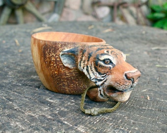 Tiger Kuksa, Guksi, wooden mug of birch - hand carved cup with tiger  180ml - nice gift for lovers of nature