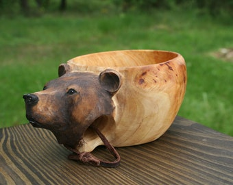 Bear Kuksa, Guksi, wooden mug - hand carved cup with Bear  180ml