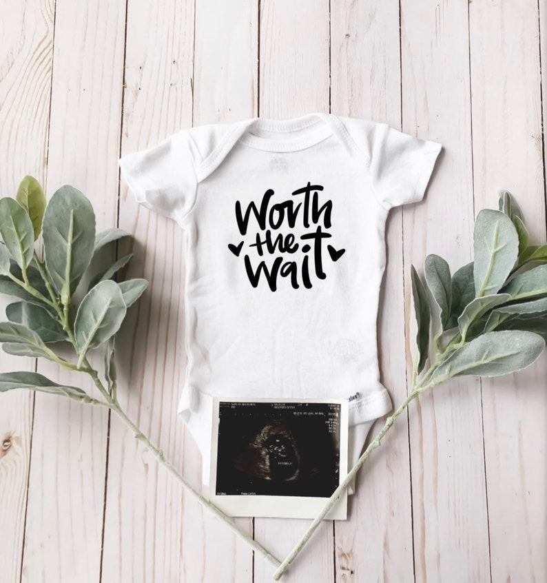Pregnancy Journey IVF Journey Pregnancy Announcement Worth the Wait Custom Baby Onesie New Baby |
