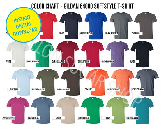 Gildan 64000 Color Chart   640 color chart crew Neck   Every Color Gildan Softstyle t shirt mockup Color Guide g640