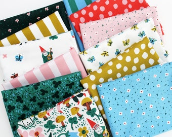 Garden Jubilee Fat Quarter Bundle / Phoebe Wahl / FIGO Fabrics / Gnome / Panel