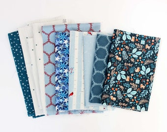 Fabric Scrap Pack / Christmas / Blues / Quilting Fabric
