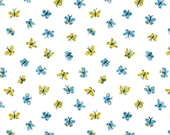 Garden Jubilee Butterflies / Phoebe Wahl / FIGO Fabrics / Gnome / White