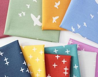 Birch Basics Fat Quarter Bundle / Birch / Organic Quilting Cotton / Poplin / Wink / Flight