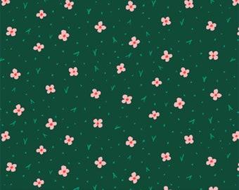 Garden Jubilee Calico Green / Phoebe Wahl / FIGO Fabrics / Gnome / Flowers