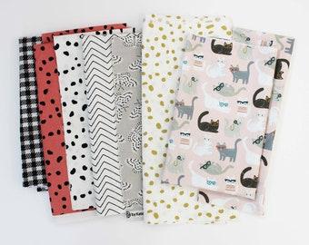 Fabric Scrap Pack / Cat / Animal Print / Pink / Quilting Fabric
