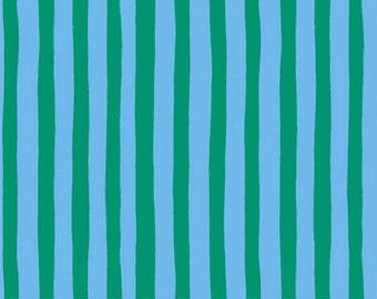 Garden Jubilee Stripes Blue / Phoebe Wahl / FIGO Fabrics / Gnome / Green