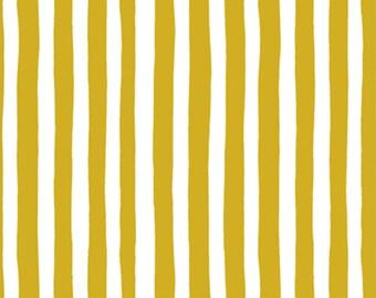 Garden Jubilee Stripes Yellow / Phoebe Wahl / FIGO Fabrics / Gnome / White