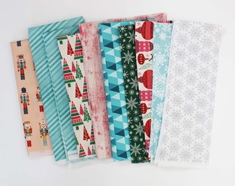 Fabric Scrap Pack / Christmas / Blue / Red / Quilting Fabric