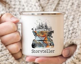 Storyteller Camping Mug, Future Author Mug, New Writer Mug, Enamel Mug, Funny Writer Birthday gift, Minimalist Mug, Simple Mug, Writer Gifts