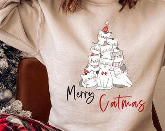 Merry Christmas Cat Tree Sweatshirt, Funny Cat Holiday Sweater, Cozy Cat Lover Sweater, Merry Catmas Sweater, Crazy Cat Lady Shirt, Cat Mom