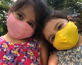 Kids Over the head Face Mask with Filter Pocket, Kid's Face Mask solid colors