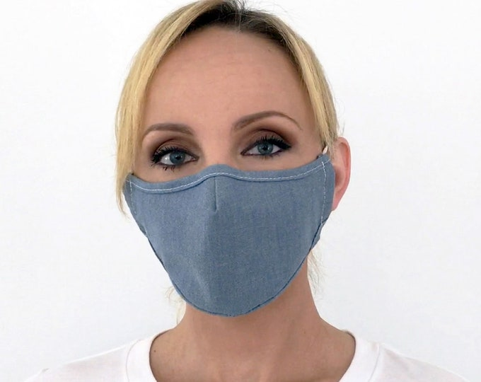 Premium Blue Face Mask For Women Chambray Denim | Filter Pocket | Triple Layer | Polypropylene/Cotton | Washable