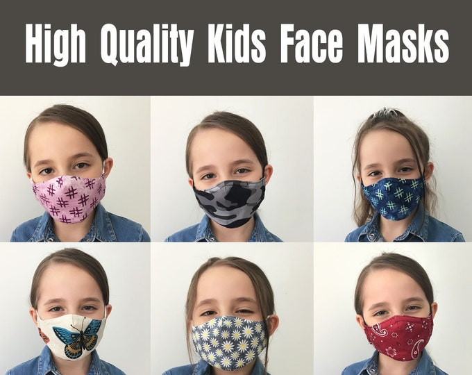 Kids Face Masks, Kids Mask, High Quality 3 Layer, Child and Youth Face Masks, Washable/Reusable, Cotton, Polypropylene, Filter Pocket, USA