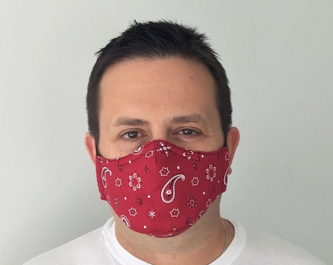 Red Bandana Face Mask For Men - Paisley Red Face Mask - Bandana Face Mask - Handmade - Filter Pocket
