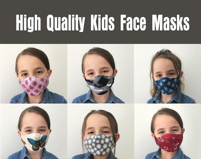Kids Face Masks, Kids Mask, High Quality 3 Layer, Child and Youth Face Masks, Washable/Reusable, Cotton, Polypropylene, Filter Pocket, USA