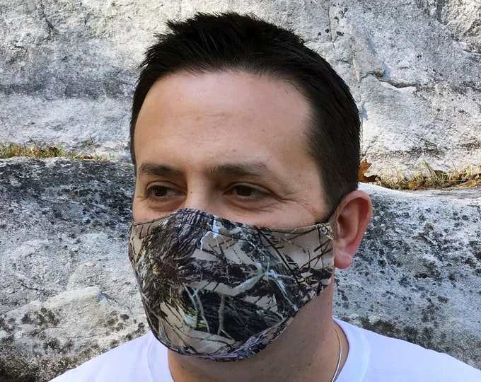 Realtree Camo Face Mask - TrueTimber MC2 Brown - Handmade - Filter Pocket