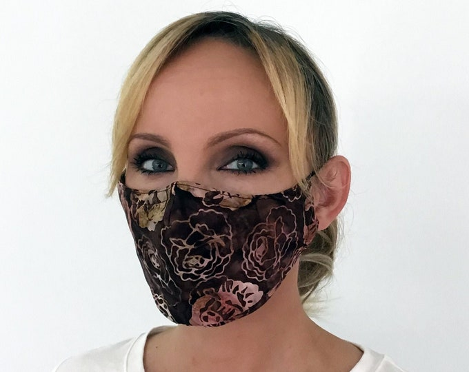 Brown Face Mask For Women Roses - Flowers Face Mask - Washable - Filter Pocket - Nose Wire
