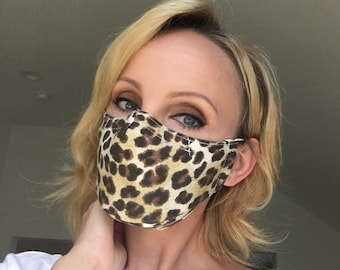 Leopard Print Face Mask | Filter Pocket | Triple Layer | Polypropylene | Cotton Canvas | Washable