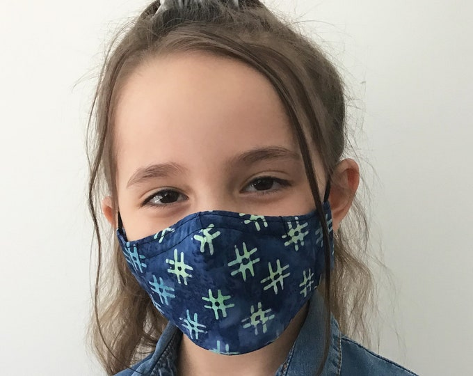 Blue Face Mask For Kids with Hashtags - Blue Face Mask Child - Handmade - Filter Pocket