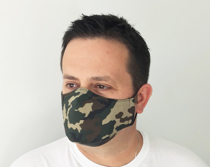 Camo Face Mask For Men - Green Camo - US Army Woodland Camouflage - Handmade - Filter Pocket