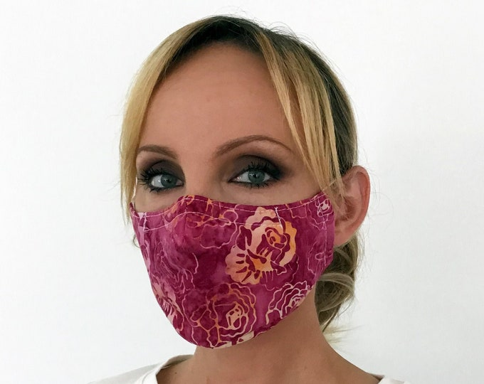 Pink Face Mask For Women Roses - Flowers Face Mask - Washable - Filter Pocket - Nose Wire