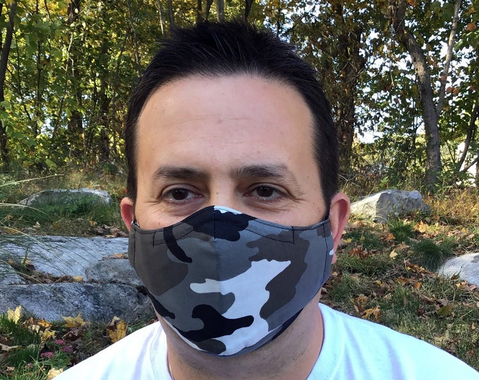 Camo Face Mask For Men - Black Camo - Black, Gray, White Camouflage - Handmade - Filter Pocket