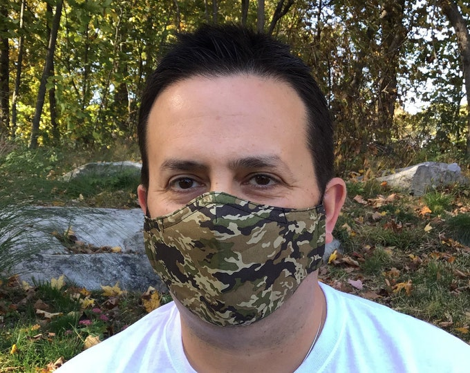 Camo Face Mask For Men - Mini Camo - Green, Brown, Black Camouflage - Handmade - Filter Pocket
