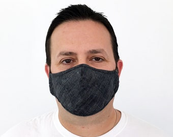 Textured Black Face Mask For Men - Filter Pocket - Washable - Premium Handmade Face Mask