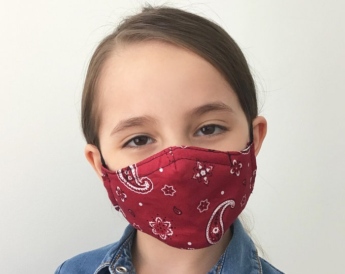 Red Bandana Face Mask For Kids - Paisley Red Face Mask Child - Children Bandana Face Mask - Handmade - Filter Pocket