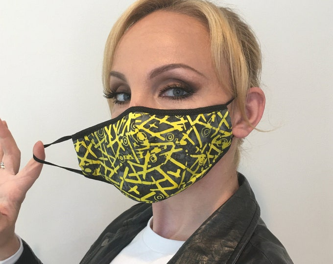 Premium Face Mask For Women Yellow/Black | Filter Pocket | Triple Layer | Polypropylene/Cotton | Washable