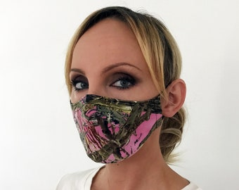 Pink Camo Face Mask For Women - True Timber - Handmade - Filter Pocket