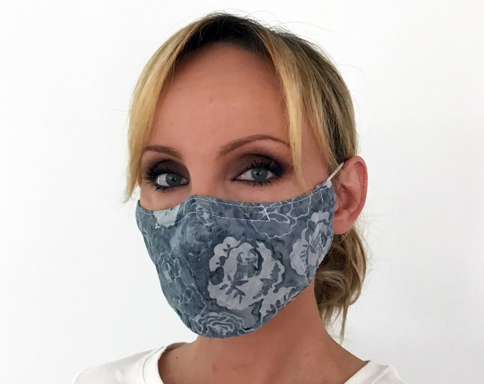 Blue Face Mask For Women Roses - Flowers Face Mask - Washable - Filter Pocket - Nose Wire