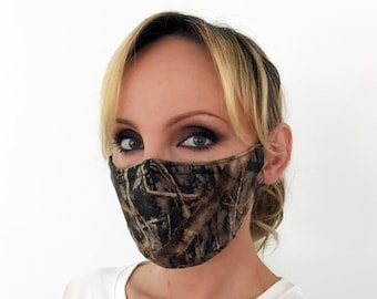 Camo Face Mask For Women - True Timber Conceal Brown - Handmade - Filter Pocket