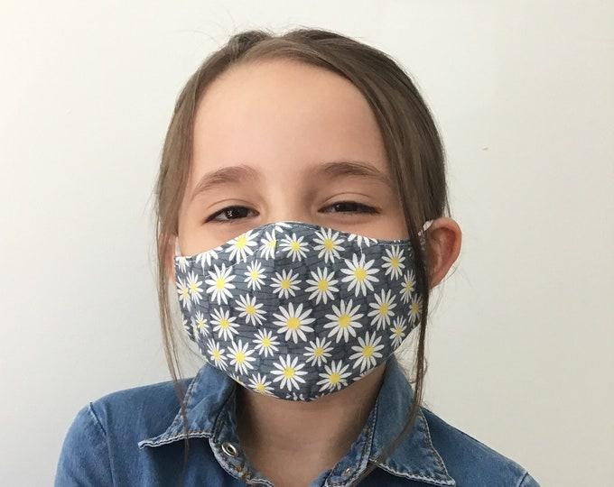 Daisy Face Mask For Kids - Daisy Flower Face Mask - Children - Handmade - Filter Pocket