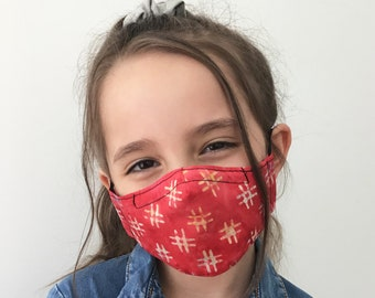 Red Hashtags Face Mask For Kids - Red Face Mask Child - Handmade - Filter Pocket
