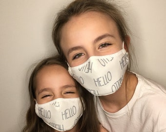 Premium Face Mask For Kids White Hello | Filter Pocket | Triple Layer | Polypropylene/ Organic Cotton | Washable