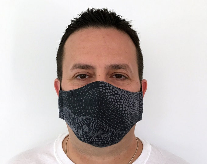 Gray Face Mask For Men - Earth Grey - Handmade - Filter Pocket
